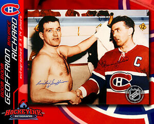 MAURICE RICHARD & BERNIE GEOFFRION Montreal Canadiens Dualed Signed 11x14 Photo