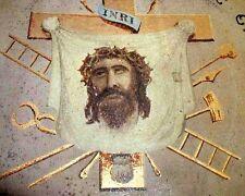 CHRIST ICON Rare ROSE CROIX Antique MASONIC FOLK ART PAINTING 1890s Rosecrucians