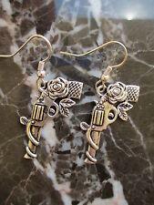Gun Pistol with Roses Silver Guns 'n' Roses Earrings .925 Sterling Ear Wires