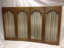 "Vintage 4 Dark Wood Open Shutter Panels Interior Window Shirred Fabric 46""x30""h"
