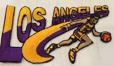 "VINTAGE IRON ON EMBROIDED PATCH LOS ANGELES  LAKERS  4""x 2 1/2"""