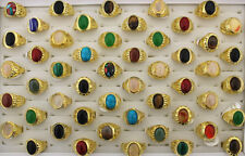 Newest Mixed 5pcs Lots Gold plated Natural Colorful Stone Men's Big Size Rings