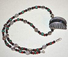 Antique Czech Glass Lion Claw Necklace Antique Venetian Chevrons, Glass & Metal