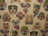 "Dogs ""Animal Tapestry"" Designer Fabric For Upholstery Curtains Cushions Throws"