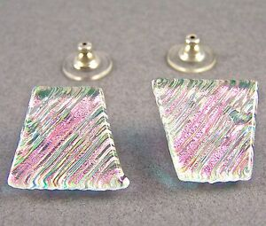 """DICHROIC GLASS Post EARRINGS Clear Opal Pink Green Gold Ripple Striped 3/4"""" 20mm"""