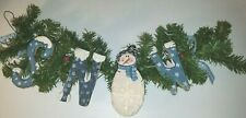 "22"" Garland Snow Wall Hanging Decoration Winter Christmas Snowman Wooden VGUC"