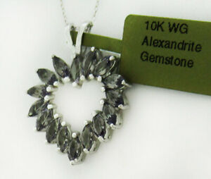 ALEXANDRITE 3.20 Cts HEART PENDANT NECKLACE 10K WHITE GOLD * New With Tag *