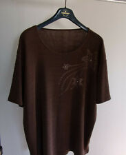 Ladies mid brown top with embossed pattern and glitter stones in XXL