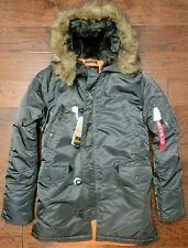 Alpha Industries Men's N-3b Slim Fit Replica Gray/Orange Parka Jacket L