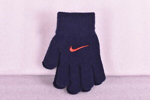 Youth Girl's Nike Ya Color Block Knitted Gloves, Navy Blue w/ Red Logo, XS
