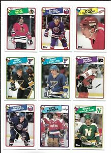 1988-89 Topps Hockey:Lot of 9 different