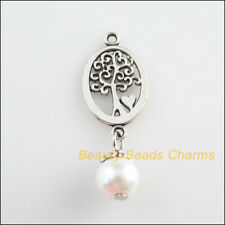 4Pcs Tibetan Silver Tone White Glass Round Beads Oval Tree Charm Pendant 13x35mm