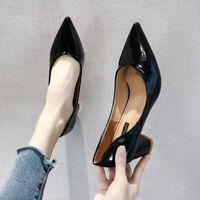 Womens Fashion Mid Block Heels Patent Leather Pointed Toe Pumps Office Shoes HOT