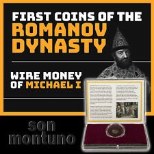 WIRE MONEY OF MICHAEL I - Russian First Romanov Dynasty Silver Coin in Box + COA