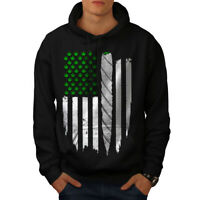 Wellcoda USA Weed Joint Flag Mens Hoodie, Rasta Casual Hooded Sweatshirt