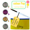 Mitty Shattered Powder Yellow Pack - Nail Polish Art Flakies Multicolour Brush