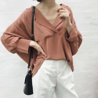 Lady Pullover Shirt Blouse Tops Lapel V Neck 3/4 Bat Pleated Sleeve Baggy Casual