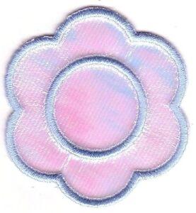Léger Bébé Bleu Brillant Fleur Broderie Applique Patch