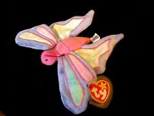Rare Beanie Baby - Flitter The Butterfly - Flat Tush Tag - Mwmt - Tag Protector