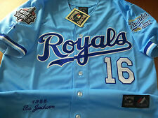 NEW PBLUE KC ROYALS #16 BO JACKSON WS DUAL PATCH stitched Majestic p.blue Jersey