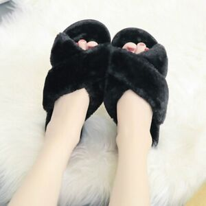 Ladies Plush House Slippers Faux Fur Slip on Warm Furry Flat Shoes Open Toe Home