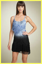 $138 FREE PEOPLE OMBRE BLUE BLACK TIE DYE LACE CROCHET SHAKE IT FRINGE DRESS 6 S