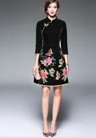 OL Damen samt Cheongsam floral stickerei Dreiviertelarm schlank Geblümt Kleider