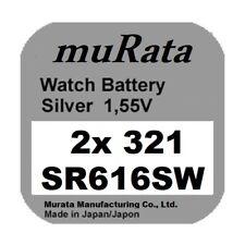 2x Murata/Sony 321 Uhren-Batterie Knopfzelle SR616SW Silberoxid Blisterware Neu