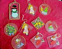 Vintage Christmas Ornament Lot - 10 ASSORTED GLASS HAND PAINTED ORNAMENTS