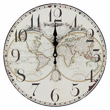 Thin 30cm Wall Clock with World Map Print