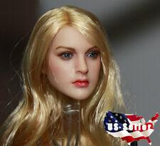 1/6 KIMI KT007 Female Head Sculpt Blond Hair For Hot Toys Phicen Female Body NEW
