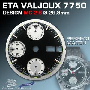 DIAL FOR MOVEMENT ETA VALJOUX 7750, MC2-S, 3-D, BLACK, SUPER LUM. ? 29.8 mm