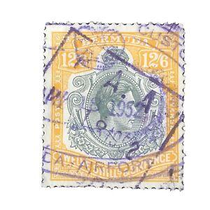 BERMUDA, SCOTT # 127, 12sh6p VALUE PERF 13 ORANGE GRAY BLACK 1938-51 KGV1 USED
