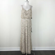 New Adrianna Papell 12 14 16 Nude Sequin Blouson Formal gown Evening dress Mesh