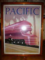 "Art Deco TRAIN ART PRINT / POSTER / PICTURE ""Pacific"" [Framed] 67x87cm Stunning!"