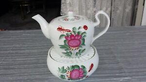 Teekanne ca. 600 ml  Stövchen  Ostfriesenrose  Friesenrose Ostfriesland Warneke