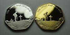 Pair of WW1 ARMISTICE Silver & Gold Commemoratives. Lest We Forget, Rememberance