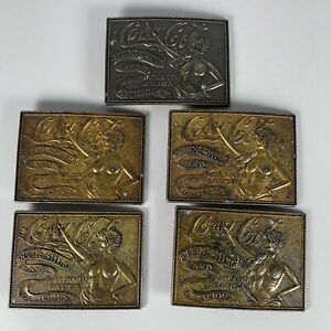 Vintage 5X Belt Buckle Coca-Cola Brass Tiffany Foundry Refreshing And Delicious