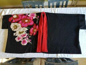 Vintage archive Kenzo Sleeveless Cardigan Knitwear Black Pink Poppies Oversize