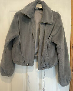 Missguided Size 10 Grey Faux Fur Bomber Jacket