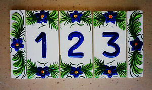 House Number Plaque Hand Painted relief Ceramic Pottery Tiles Made in Portugal
