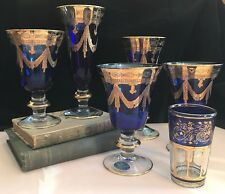 Lot Arte Italica MEDICI COBALT BLUE 24k Gold Encrusted Glasses