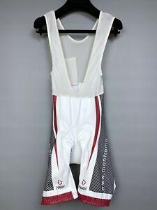 NALINI White Bib Shorts Size 4 Cycling Padded Stretch Body Red trim