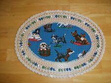 New Handmade Oval Crochet Doily--Cats and Dogs
