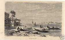 Antique woodcut print spits Serail Constantinople Istanbul 1865