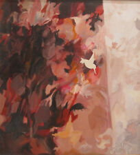 AMERICAN MID CENTURY FLORAL BOTANICAL ABSTRACT EXPRESSION PAINTING LISTED ARTIST