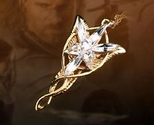 LOTR Yellow Gold Plated Arwen Evenstar Crystal Necklace Pendant HJ65