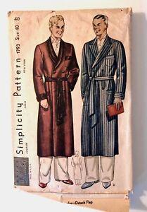 Vintage 1940s 1950s Simplicity Sewing Pattern Mens ROBE Smoking Jacket Size 40