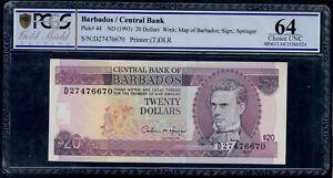 BARBADOS  20  DOLLARS ( 1993 ) PICK # 44  PCGS 64 CHOICE UNC.