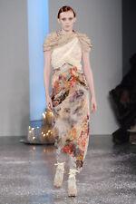 RODARTE Silk Floral Fringe Sheer Panel Dress Gown  8